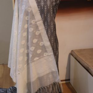 Ikat Cotton Silk Febric for top Kurti with Pure Handloom Dyeable Cotton Dupatta