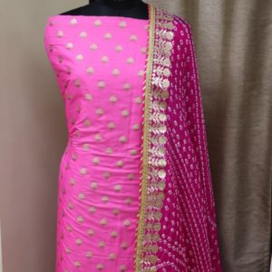 Benarasi Alfizari Brocade Fabric for kurti with Gota Patti Dupatta