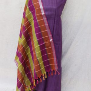 Bhagalpuri Silk Fabric with Fancy checks Dupatta