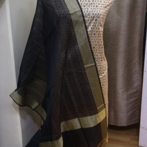 Printed PS Fabric with Cotton Self Weave  Dupatta