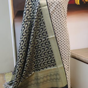 Paudi Jacquard Dyeable Chanderi Fabric with Benarasi Brocade Dupatta