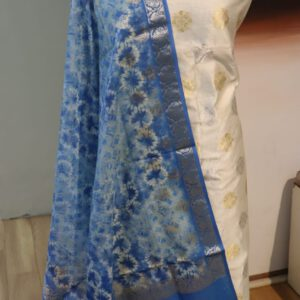 Pure Silk Jacquard Fabric with Chanderi Silk digital Print dupatta