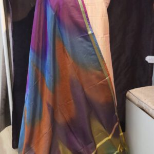 Plain Cotton Viscose Fabric with Multi Rainbow Dupatta