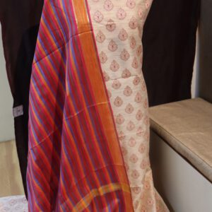 Banarasi Jacquard fabric with multi Stripe Dupatta
