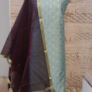 Pure Silk Jacquard Fabric with Mirror work Dupatta