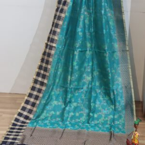 Pure Tussar Silk Jaal Weave with Contrast Check Border Saree